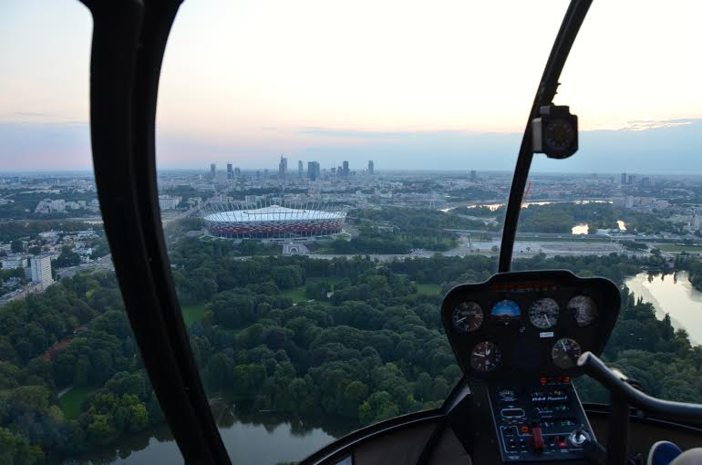 Helicopter flights over Warsaw