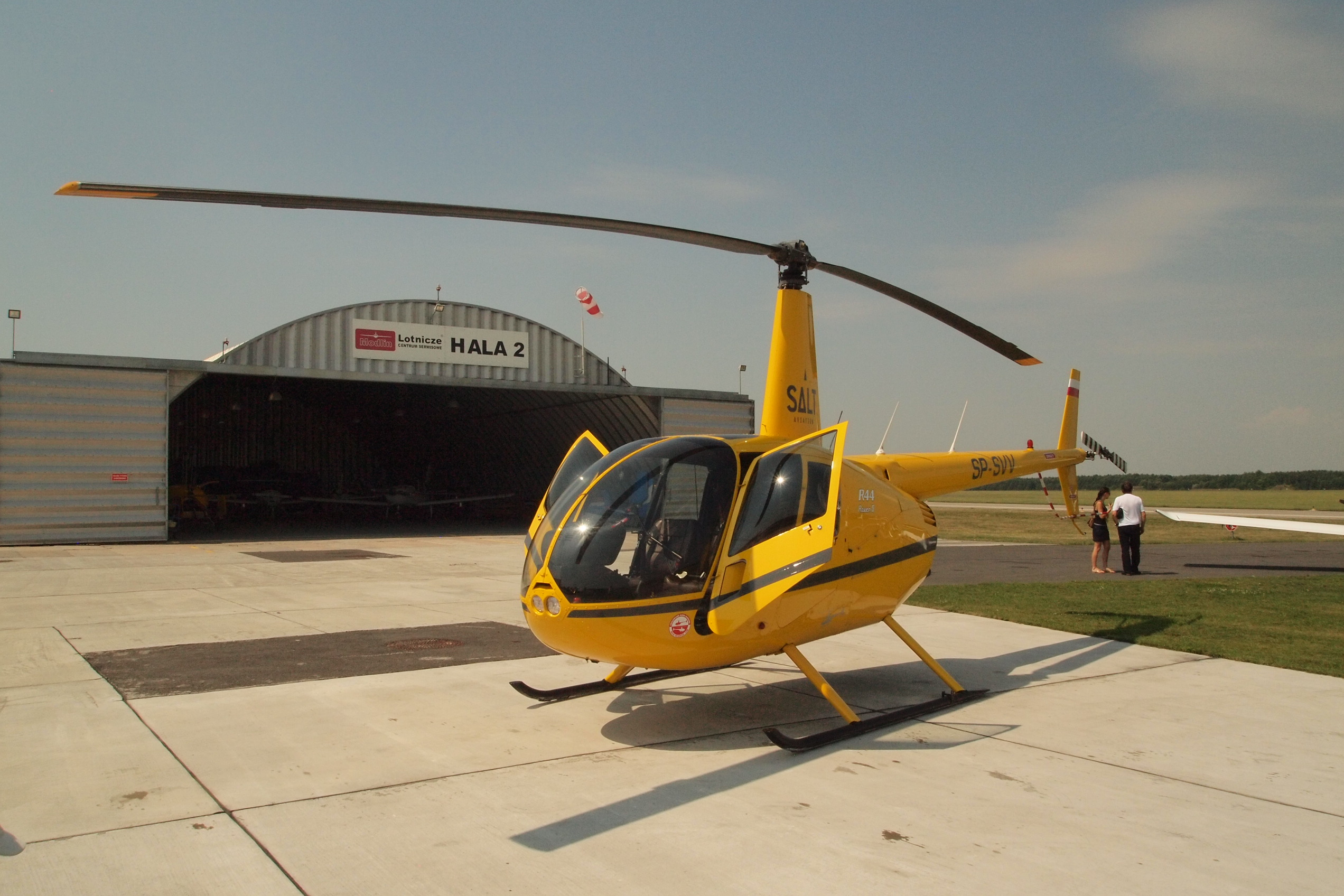 Viewing helicopter flight over Warsaw from Modlin Airport