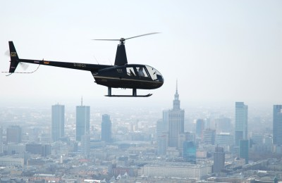 Helicopter flight over Warsaw
