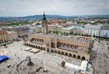 Old town in Krakow city panorama, Poland
