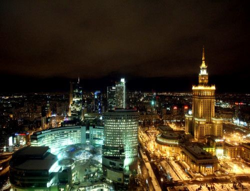 Warsaw skyscrapers by night