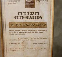 Righteous Among the Nations certificate of honour for Jan and Antonina Zabinski