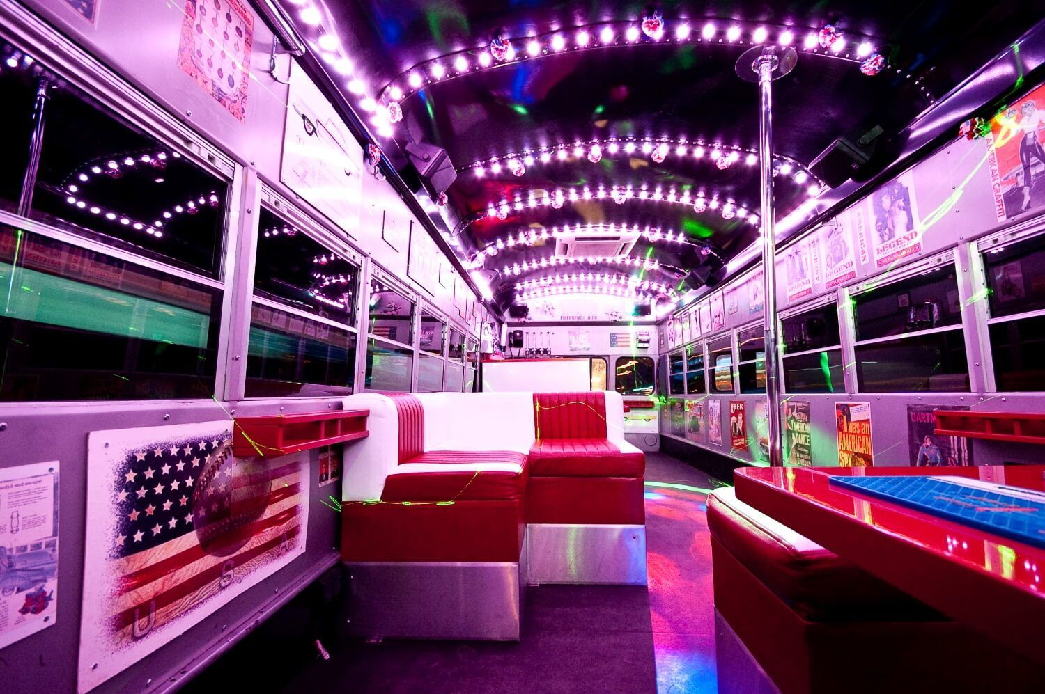 American-style party bus in Warsaw