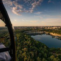 Helicopter flight over Krakow