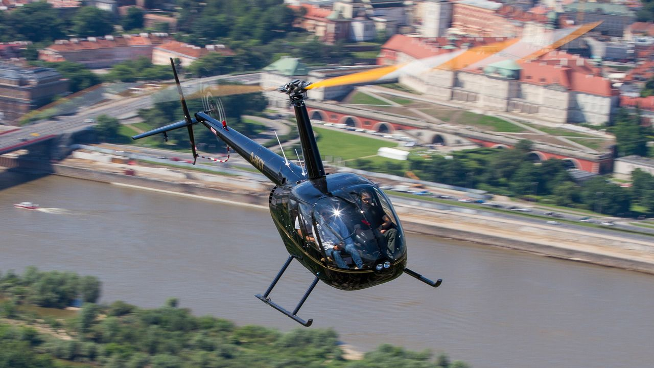 Viewing helicopter flight over Warsaw