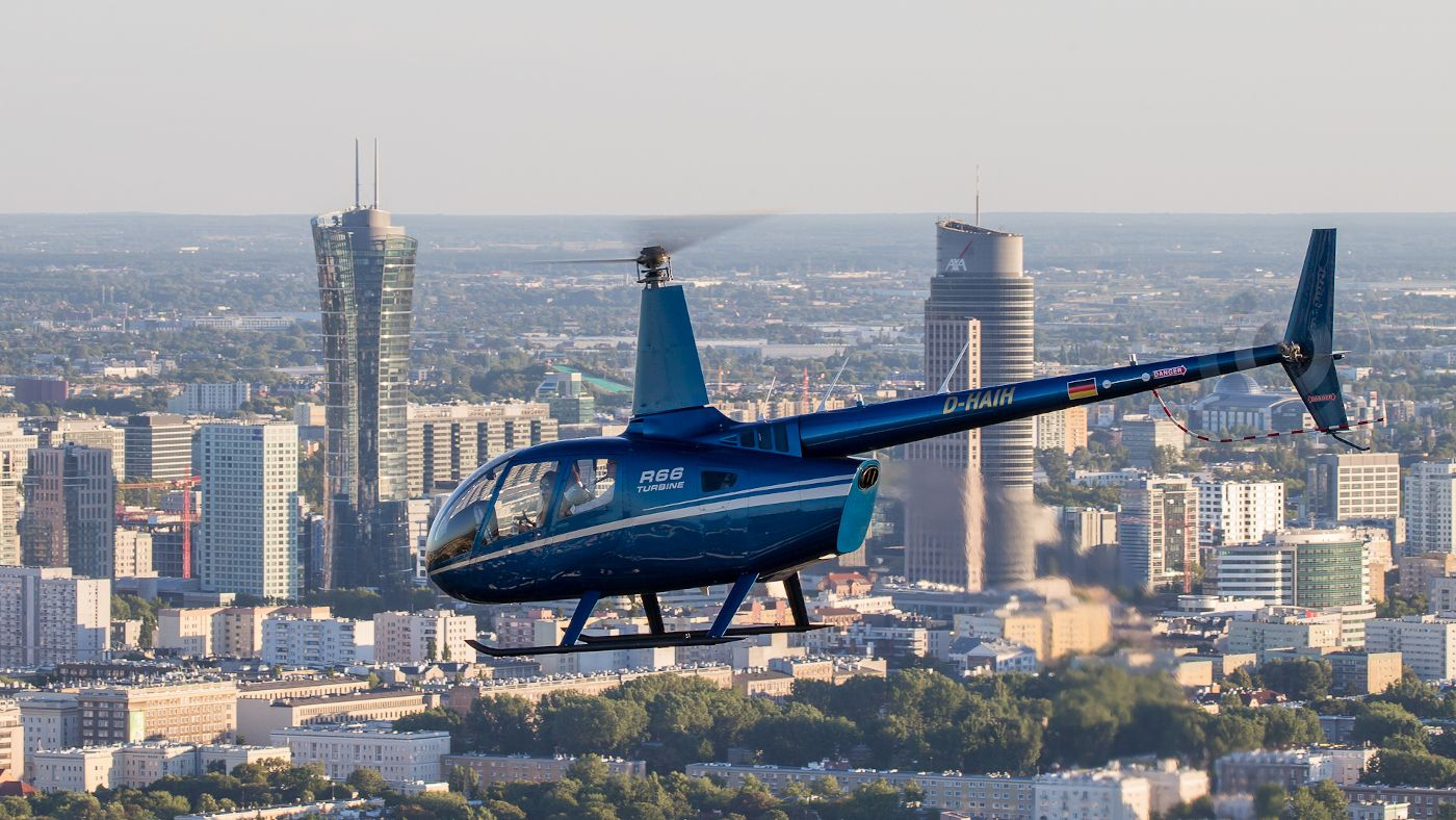 Flight over Warsaw skyscrapers with AB Poland Travel
